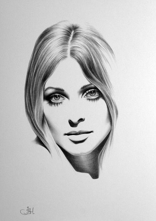 Sharon Tate Minimalism Pencil Drawing Fine Art by IleanaHunter, $9.99