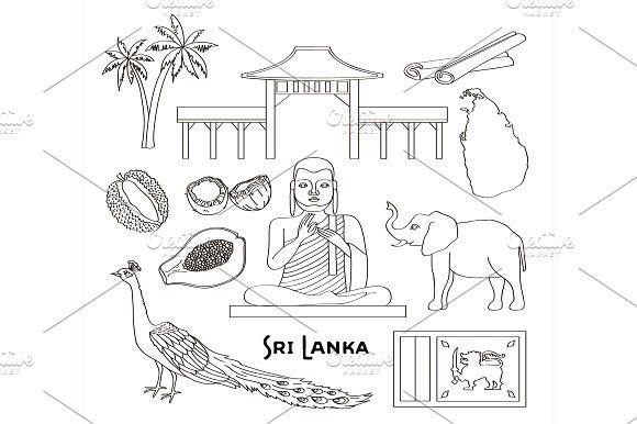 Symbols Of Sri Lanka Icons Set Icon Set Sri Lanka Symbols