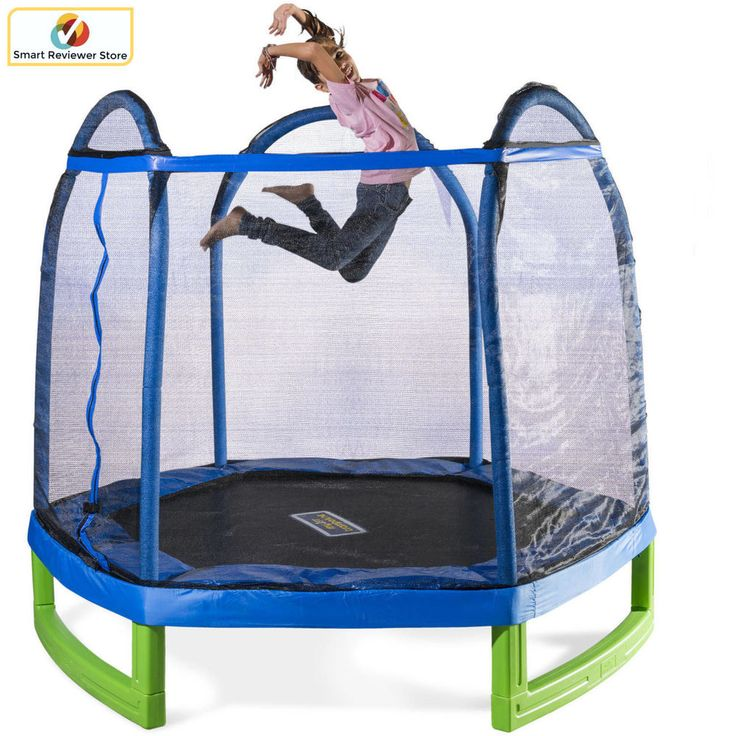 7' Trampoline with Safety Enclosure Net for Kids Outdoor Jump Fun Bouncer Play #Sportspower