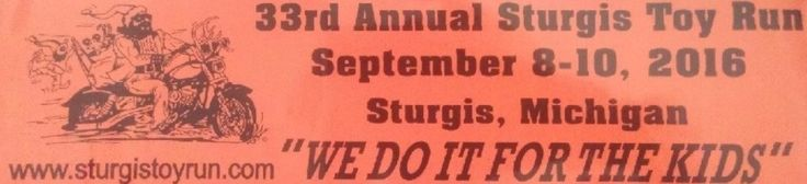 Sturgis Toy Run #fabric #donations http://donate.nef2.com/sturgis-toy-run-fabric-donations/  #toy donations # Celebrating 33 years of caring Welcome to the home page of the Sturgis Toy Run! A non-profit organization that holds an annual motorcycle rally weekend long event in Sturgis MI every September. Our goal is to brighten Christmas for the less fortunate right here in St.Joseph County surrounding areas. The Sturgis Toy Run makes this possible by teaming up with the Salvation Army to help…