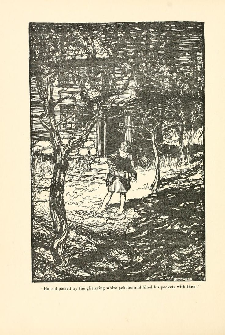 Hansel picked up the glittering white pebbles and filled his pockets with them; Hansel and Grethel - The Fairy Tales of the Brothers Grimm, 1909
