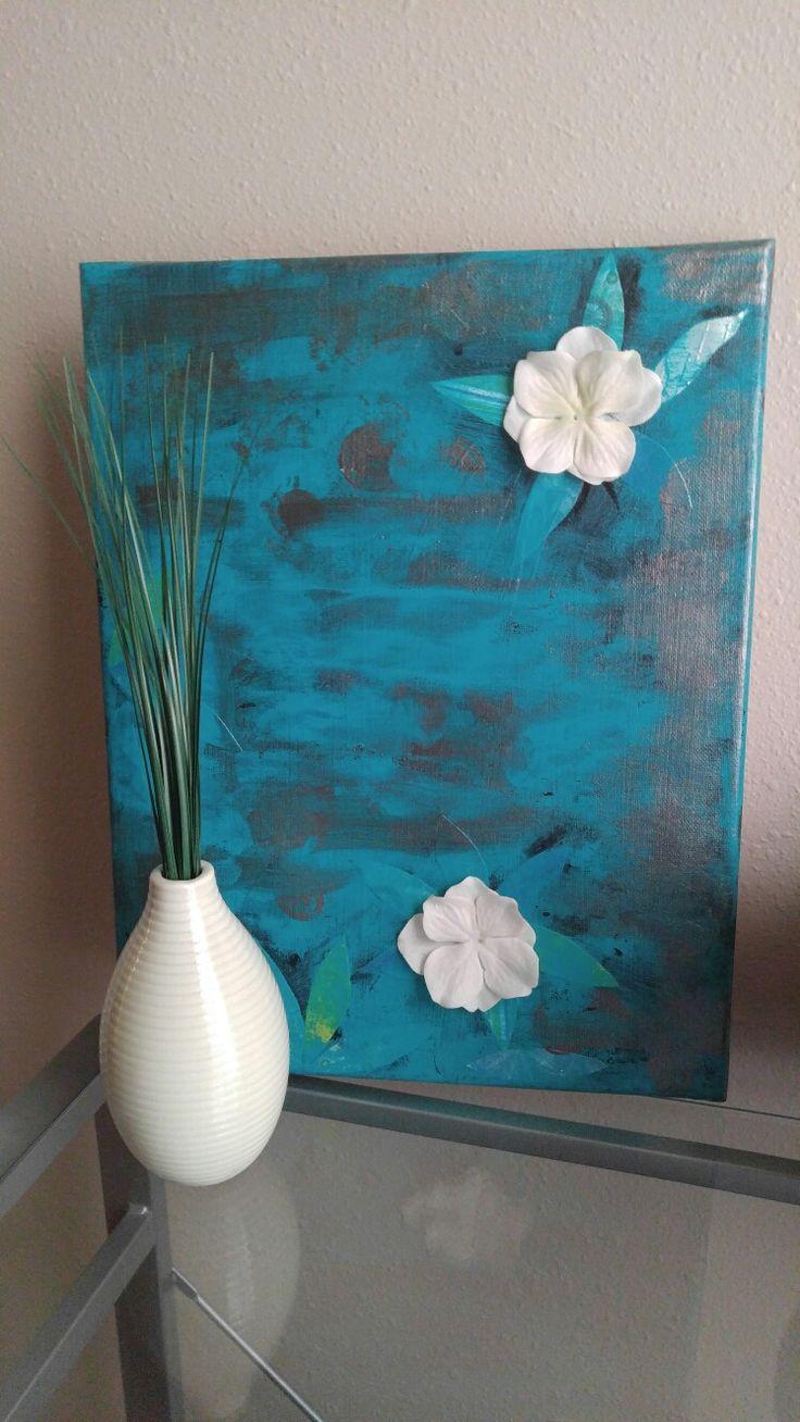 Canvas pintado con pintura acrílica probando diversas texturas