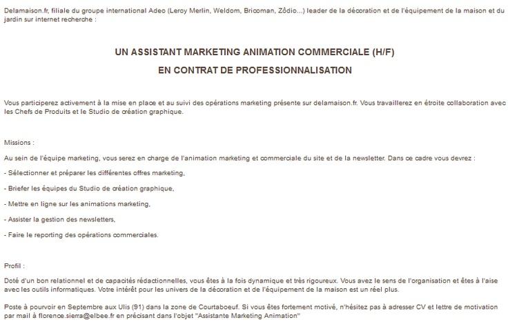 Delamaison.fr recherche un(e) assitant(e) marketing, animation commerciale en contrat de professionnalisation.
