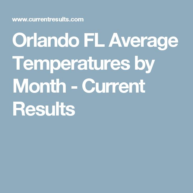 Orlando FL Average Temperatures by Month - Current Results