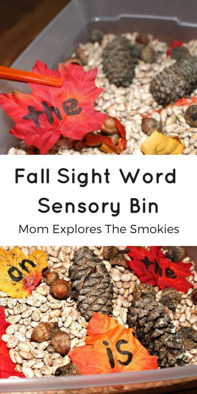 This inexpensive fall sensory bins doubles as a sight word activity for kids!