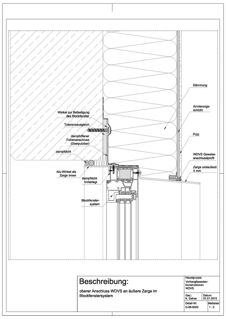 D-06-0025 oberer Anschluss WDVS an äußere Zarge im Blockfenstersystem