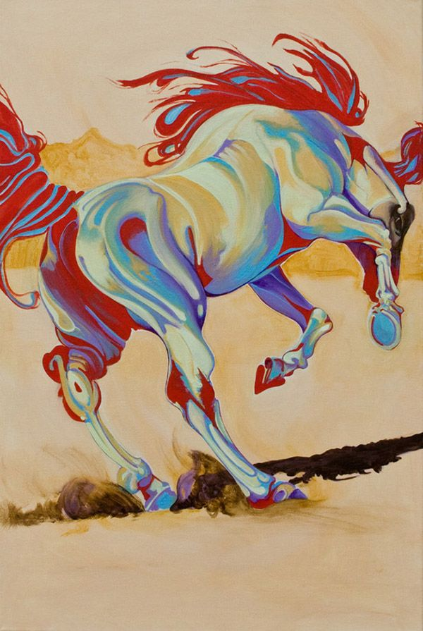 Yaheya's horse portraits put the animal front and center, capturing the raw nature of its movements on top of a one color background. This, combined with the rainbow of hues she selects for the subjects themselves, pop the horses out in bold flowing detail. Her paintings celebrate the strength and gracefulness of the animal that has shaped our world for thousands of years… but capture it through a contemporary lens and a palette that accentuates its form.