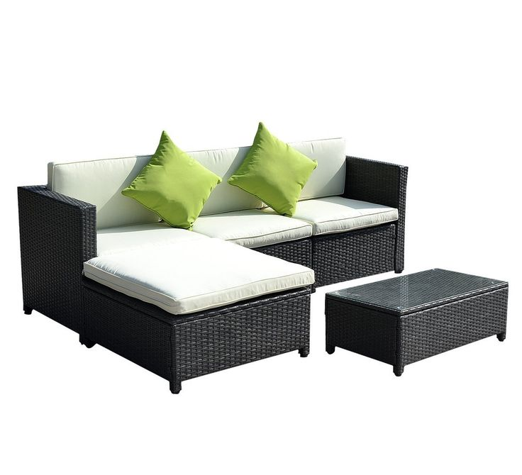 Goplus® 5PC Rattan Wicker Sofa Set Cushioned Sectional Outdoor Garden Patio Furniture Black. Made of weather-resin wicker material that can support a weight of up to 300 lbs. Removable Cushions Covers For Easy Cleaning, Simple To Clean;Assembly Required All Hardware Included. The 4 seating pieces are all individually separated allowing rearrangement of seats to one's liking. Set includes: 3 x seat sofa, 1 x Ottoman ,1 x table with tempered glass, 2 X Green Pillow seat and back cushions…