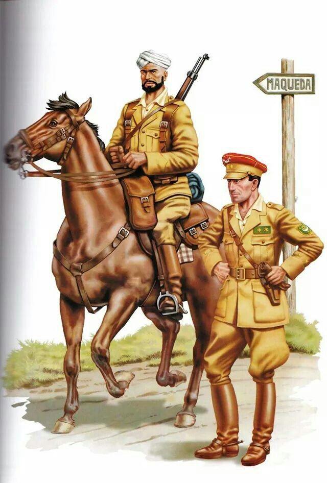 Spanish Civil War;Regulares Cavalry- Moroccan trooper & Spanish Officer