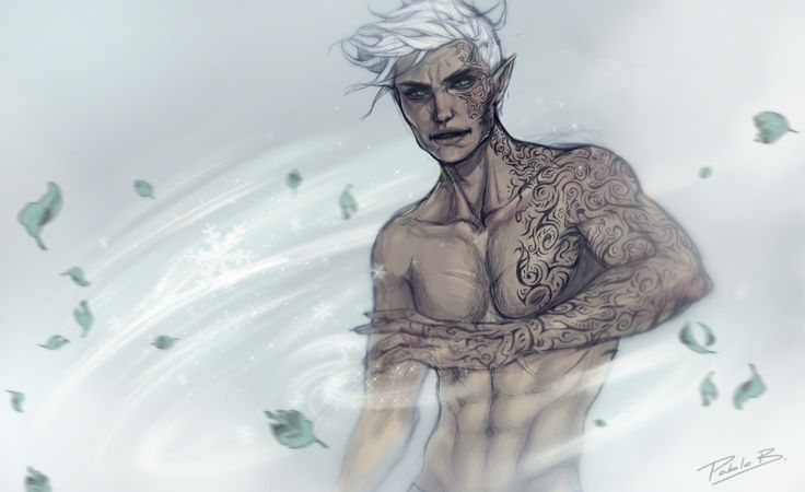 """elidexlorcan: """"pablob-: """"Full-power Rowan Whitethorn!! This started as a simple sketch until the moment I realized Rowan has TONS of tattoos covering his body and lost myself in it *laughs* I was just playing around with some effects, I swear! Rowan..."""