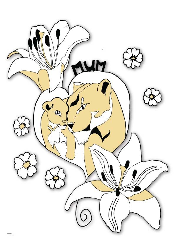 Three colour tattoo design with lioness, cub and lilies.