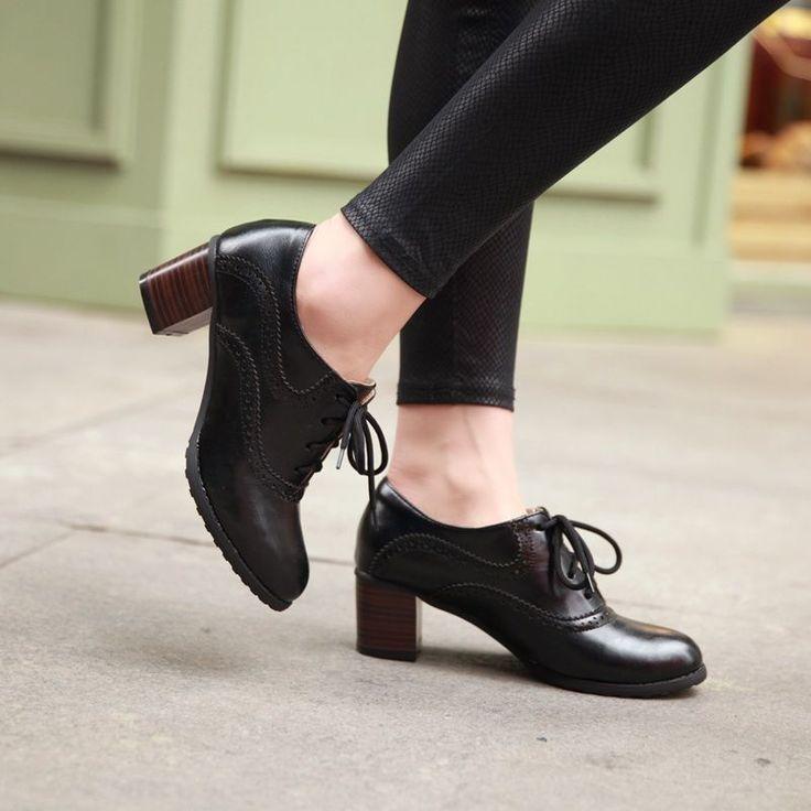 Para mujeres Con Cordones Estilo Retro Mid Tacones gruesos zapatos Oxford Wing Tip ocio 4-11