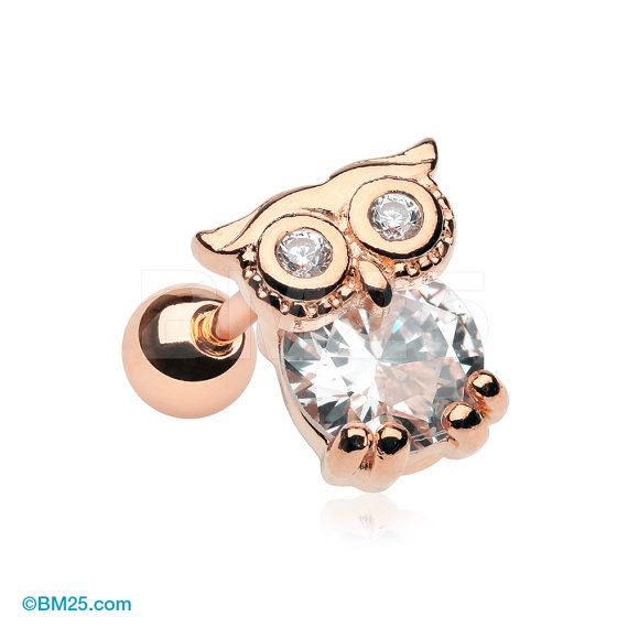 Or rose Night Owl éclat Cartilage Tragus Barbell par BM25Jewelry
