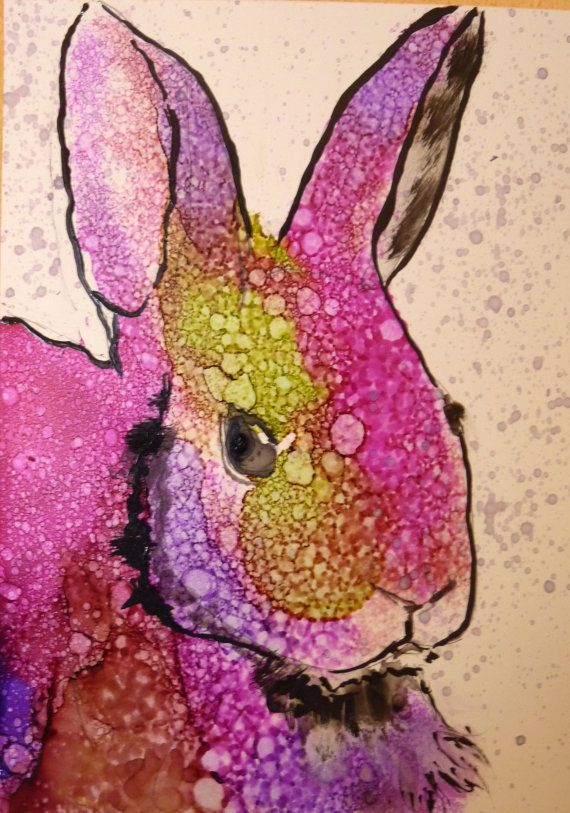 Bunny Raggit Alcohol Ink Print by Maure Bausch