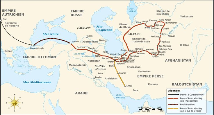 Map of the travel of Ármin Vámbery in Central Asia - Ármin Vámbéry, also known as Arminius Vámbéry, was a Hungarian Turkologist and traveller.