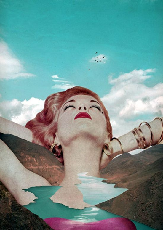 Surrealism Giant Woman Dreaming Looking Up Clouds Vintage River Mountains