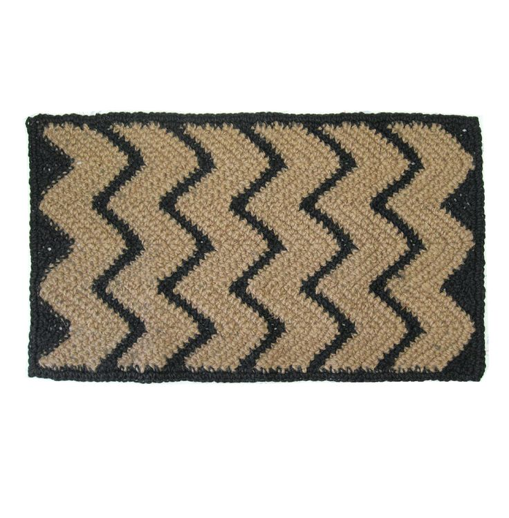 "Jute Hall Rug or Runner w/ Black Chevron Stripes - Hand Crocheted - 1.5' x 2.5'. Chevron pattern area rug, made from eco friendly jute fiber in a primitive, southwestern style. The colors are black zigzag stripes against the natural tan. This measures roughly 18"" x 31"", perfect for a kitchen, hallway, or the foot of a bed. Cats seem to love sleeping on the material, so if you're a cat person, this could be just the thing for you. Care and Feeding: Your handmade area rug can be placed…"