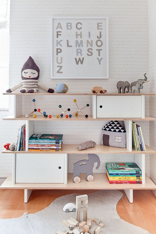 Sweet Gray And White Nursery With Framed Alphabet Art Over A Oeuf Mini  Library Highlighted By Sissy + Marley Baby Elephant Walk Wallpaper.
