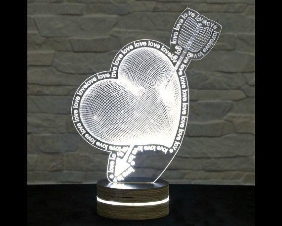 Heart Shape, Home Decor, Office Decor, 3D LED Lamp, Acrylic Lamp, Amazing Effect, Art of Light, Nursery Light, Artistic Lamp, Table Light by ArtisticLamps