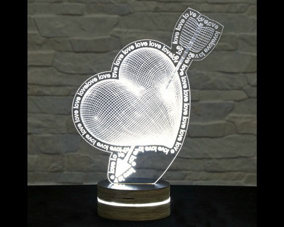 Heart Shape, Home Decor, Office Decor, 3D LED Lamp, Acrylic Lamp, Amazing Effect, Art of Light, Nursery Light, Artistic Lamp, Table Light by ArtisticLamps