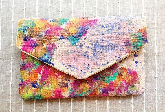 hand painted clutch, envelope clutch, bohemian clutch, tribal pattern, splatter map, map of the world clutch