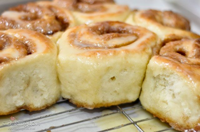 Buttermilk cinnamon rolls.  This was a great recipe.  Great flavor and good texture.  You'll need to bake the full 25 min to get the middle ones done.