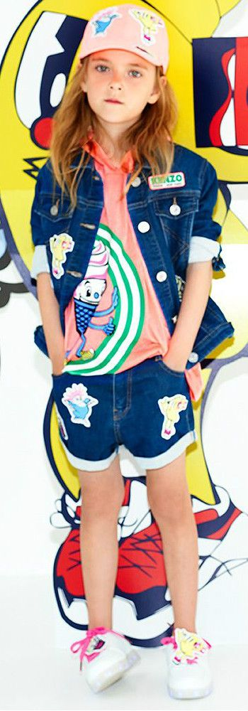 KENZO KIDS Girls Food Fiesta Jacket Shorts for Spring Summer 2018. Love this cute mini me look Inspired by the Kenzo Women's Collection. Perfect Streetwear Look with a fun overall top and connected print skirt for a little princess. Pretty Summer Look for a stylish kid, tween and teen girls. #kenzo #girlsdresses #kidsfashion #fashionkids #childrensclothing #girlsclothes #girlsclothing #girlsfashion