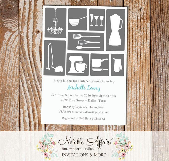 Bridal Shower Kitchen House Invitation gray
