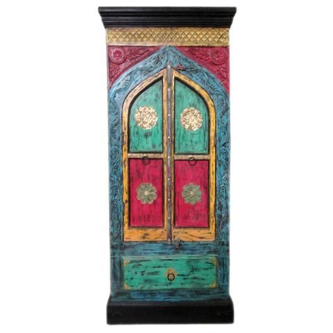 Handpainted Multicoloured Wooden Brass Double Door Coupboard With Drawer - FOLKBRIDGE.COM   Buy Gifts. Indian Handicrafts. Home Decorations.