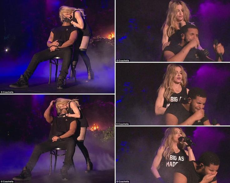 It wasn\'t good for him! Madonna, 56, makes out with Drake, 28, onstage at Coachella... but doesn\'t notice his look of HORROR as he wipes his mouth.  She has been selling herself as a sex pot to push copies of her new album Rebel Heart. But not everyone thinks she\'s the cat\'s meow. After belting out Express Yourself to Drake at Coachella on Sunday night, Madonna pulled the 28-year-old singer back to plant a kiss on his lips, making out with him for at least three seconds.