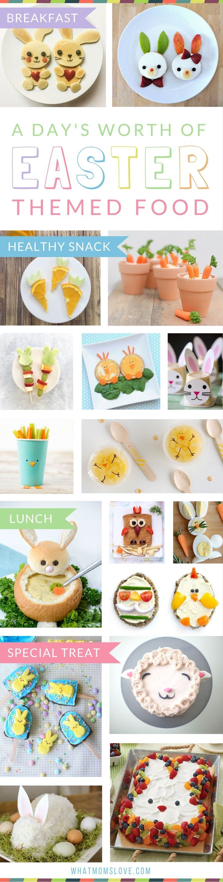 Fun Easter Food Ideas for Kids | Creative Easter themed recipes to make for your children for Breakfast, Brunch, Lunch or a Healthy Snack. Plus, sweet treats and desserts that are perfect for your child's school class party or just for fun - super cute yet easy including cakes, bark, brownies, peeps, bunnies, lambs, mini eggs, rice krispies and more! Head to whatmomslove.com for all the recipes.