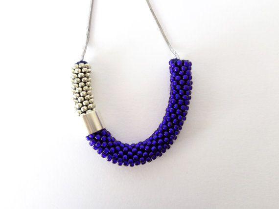 Tube ketting/minimalistische sieraden/blauw touw ketting/staal ketting/lichtgewicht ketting/dagelijks Jewel/kleur blok sieraden