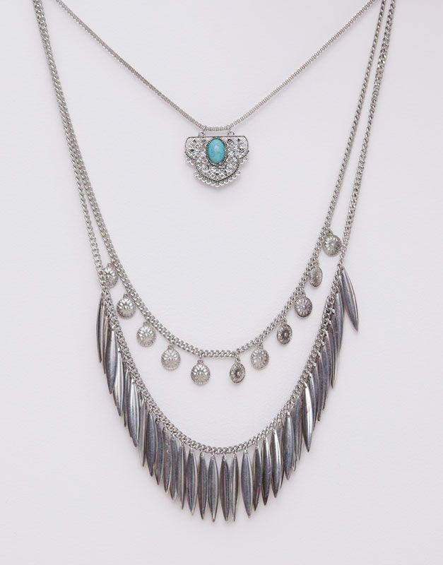 Pull&Bear - mulher - bijuteria - pack 3 colares, moedas e penas - prata - 05993365-V2015