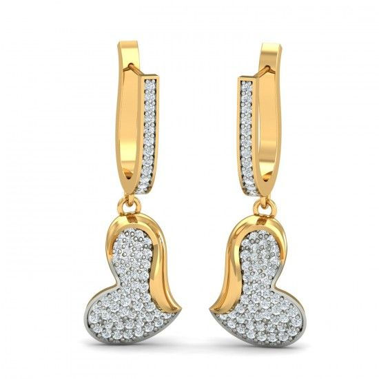 A special dangle earrings with regular gold diamond hoops on the top with a dangling heart shaped gold figure set in pave diamonds. This one is truly special. Go ahead & customize it with options in Gold Purity (18K, 14K), Diamond Grade (SI-HI, VS-GH, VVS-GH) & Metal Colour (Yellow, White, Rose) of your liking. Create your own unique jewelry. #Special #Heart #Dangle #Diamond #Gold #Earrings