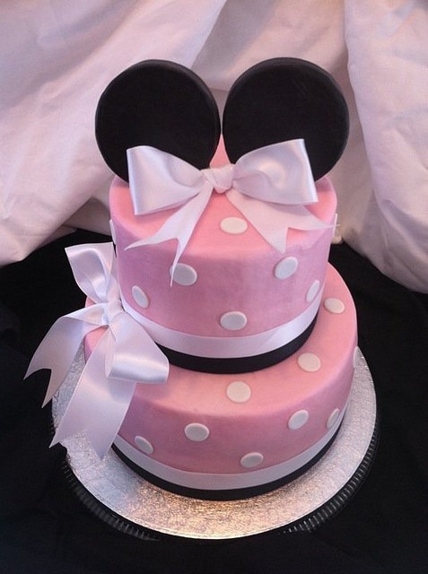 Polka Dot Minnie Mouse Cake...I'm thinking purple instead of pink
