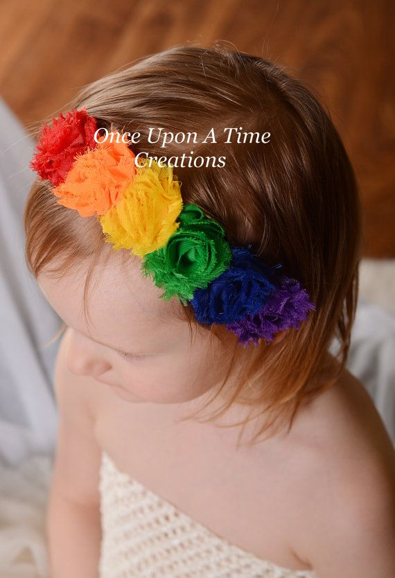 Rainbow Birthday Mini Shabby Flower Headband - Birthday, Photo Prop - Newborn Infant Baby Child Girls Hair Bow on Etsy, $9.99