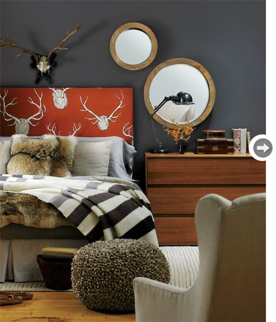I love the 2 mirrors and their positioning! ----  Cabin-chic chamber - Style At Home