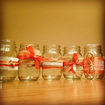 Set of 12 Wedding Mason Jars for Flowers/Candles Personalized With Your Colors, $56.00