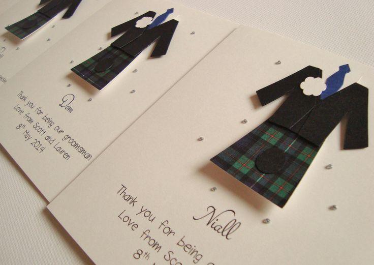 Personalised Usher/Best Man/Page Boy Kilt Scottish Wedding Thank You Card by ohsopurrfect on Etsy https://www.etsy.com/listing/130857936/personalised-usherbest-manpage-boy-kilt