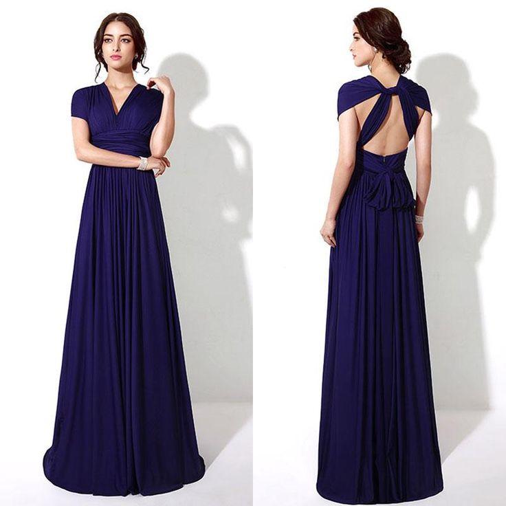 Custom made royal blue convertible bridesmaid dresses for Made of honor wedding dress