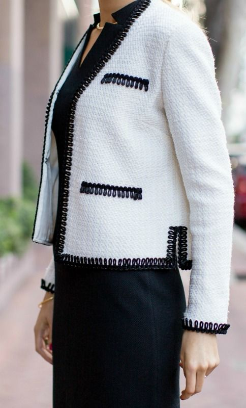 One of my favorite pieces from the new St. John Knits collection -- this beautiful white tweed jacket with black looped trim. Such a versatile piece! #stjohnknits
