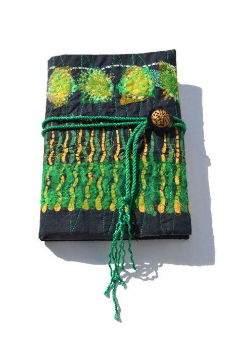 EMBROIDERED JOURNAL COVER  Textile Art  Book Cover by HeketDesigns, $25.00
