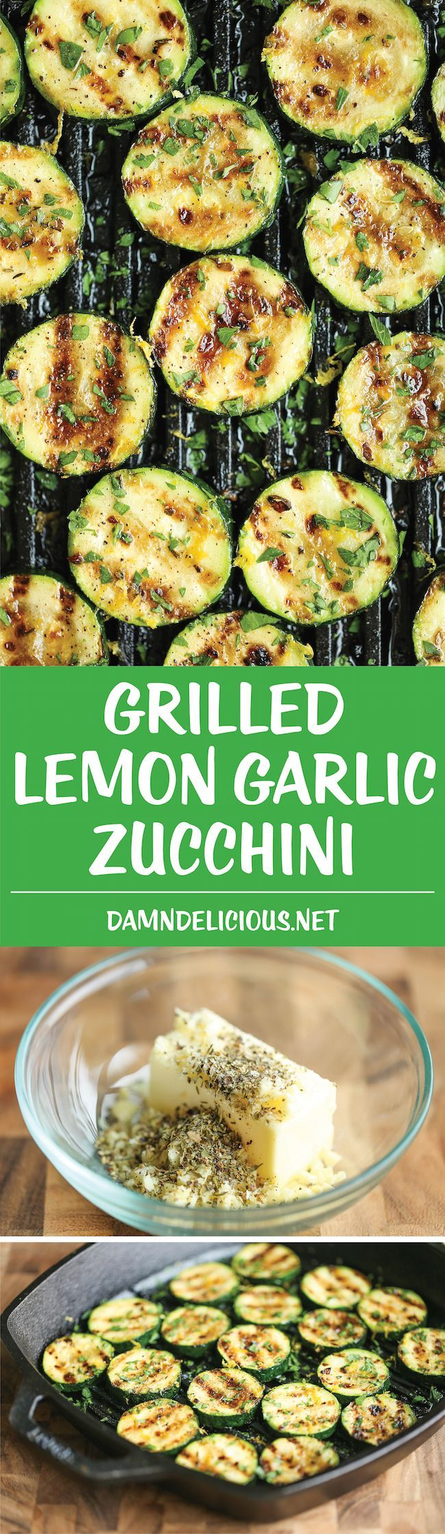 "Grilled Lemon Garlic Zucchini - Amazingly crisp-tender zucchini grilled with a lemon butter garlic sauce - a side dish that will go well with anything!  Brush generously with marinade. Gave it a light coating one time and while it was still ""good"" we weren't as impressed as the first time we made it. -R"