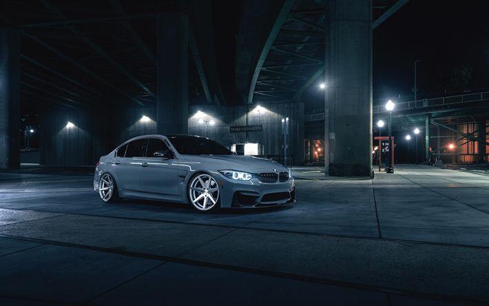 Descargar fondos de pantalla El BMW M3, F80, la noche de 2017, los coches, tuning, gris m3, los coches alemanes, BMW