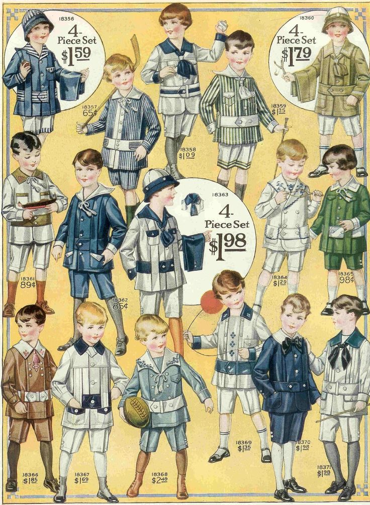 Antique Images: Free Vintage Fashion Graphic: 1915 Boys Fashion Illustration Full Page from Vintage Catalog