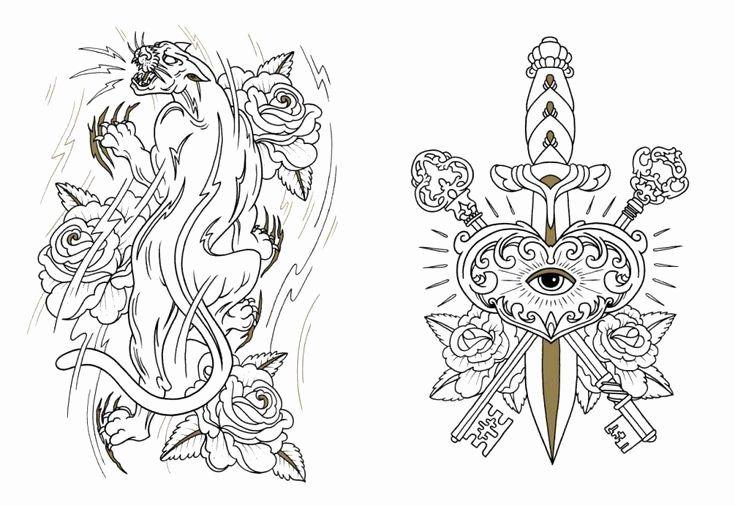 Tattoo Flash Coloring Book