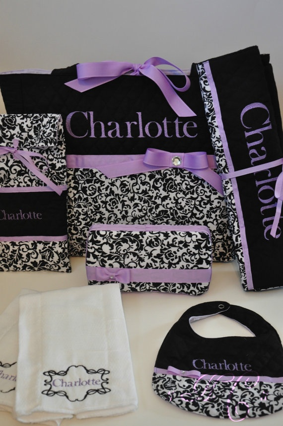Personalized Monogrammed Diaper Bag Set by HomeFrontCouture, $128.00