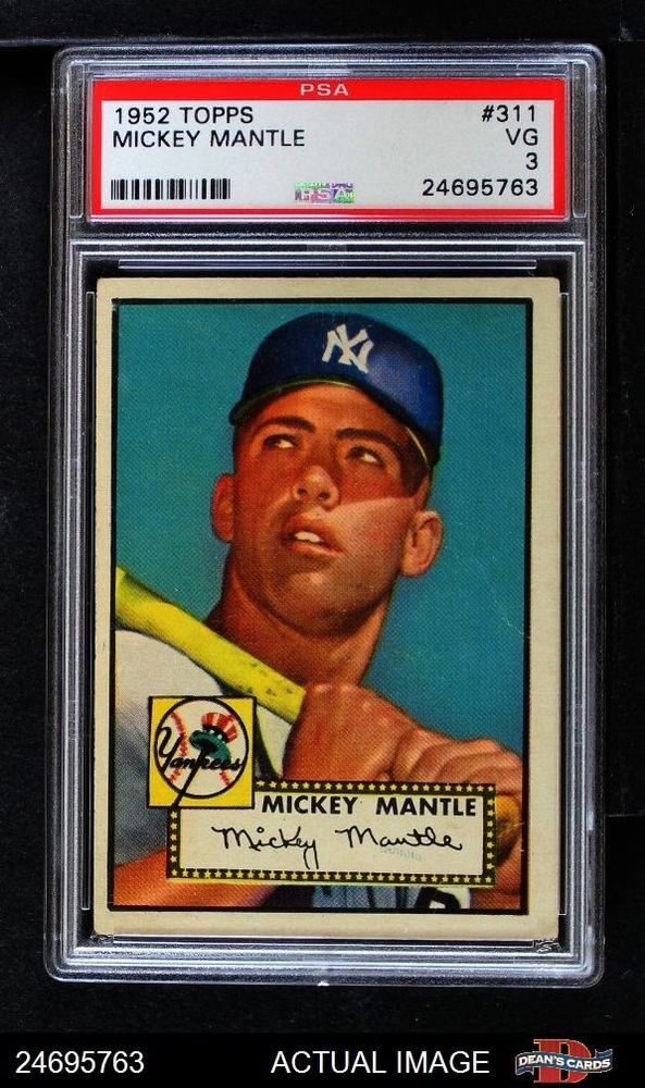 1952 Topps 311 Mickey Mantle Yankees Psa 3 Vg Mickey Mantle Baseball Cards Mickey