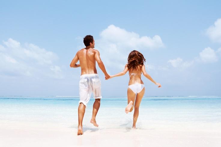 Couple running on water