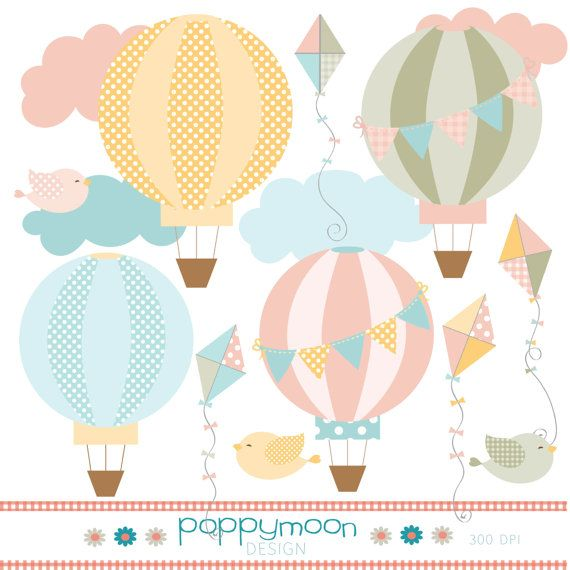 Hot air balloon and kite pastel pink yellow by poppymoondesign, £3.00